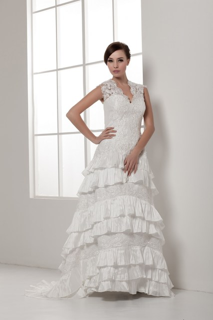 wedding dresses for mature brides with Floor length,Sleeveless lace ...