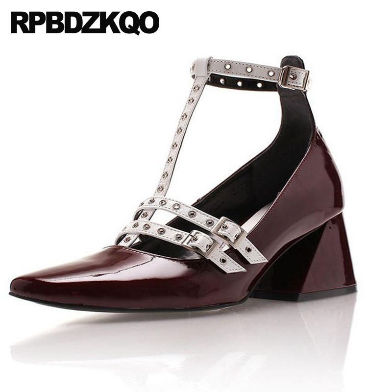 Strappy Women Metal Chunky Patent Leather Shoes Black Celebrity Square Toe Rivet Pumps Wine Red Medium Heels High T Strap Stud fashion pumps elegant metal size 4 34 women medium square toe female chunky wine red patent leather shoes new 33 modern china