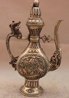 China White Copper Silver Dragon Flower Teapot Flagon Wine pot