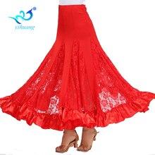 גבוהה באיכות פלמנקו ארוך חצאית סלוניים טנגו מודרני ריקוד חצאית גדולה נדנדה מסיבת שמלת ביצועי תחפושת תחרה