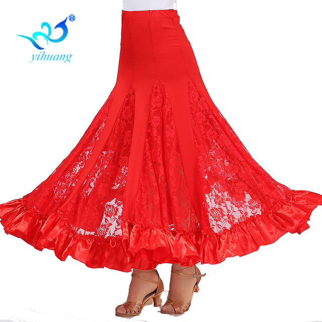 Hohe Qualität Flamenco Lange Rock Ballsaal Tango Modern Dance Rock Große Schaukel Party Kleid Leistung Kostüm Spitze