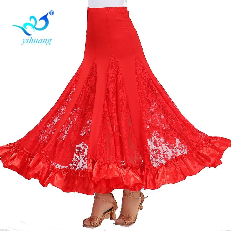 Ladies Ballroom Dance Costume Long Skirt Flamenco Big Swing Dress Modern Waltz Performance Outfits Tango Lace Stretchy Waistband