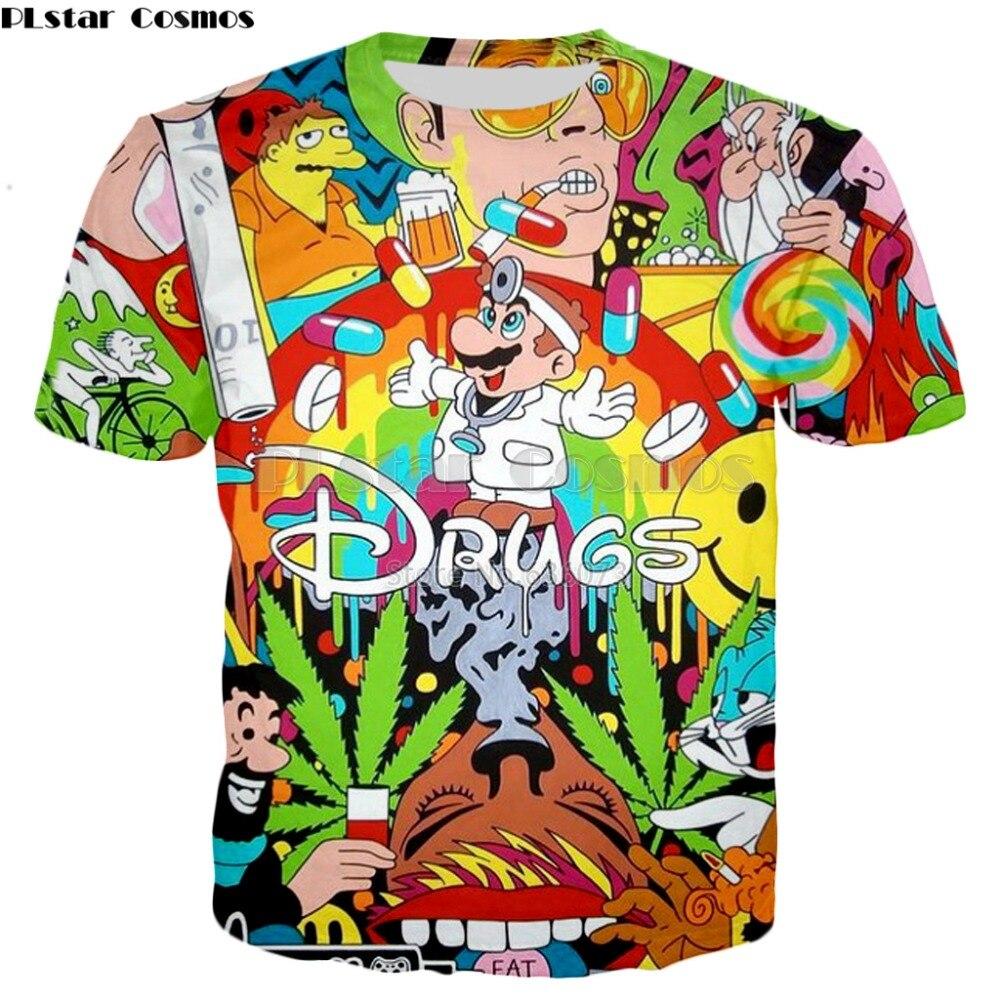 PLstar Cosmos Drop shipping 2019 Summer Fashion   T  -  shirt   Drugs&weed   t     shirt   Cartoon Super Mario 3D Print Mens Womens   t     shirts