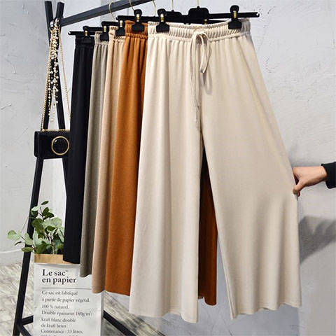 Frauen Hohe taille gefaltete chiffon-breite bein hosen Sommer Lose Ausgestelltes Elegante Trompete Einfarbig Elastische Beiläufige Hosen Rock