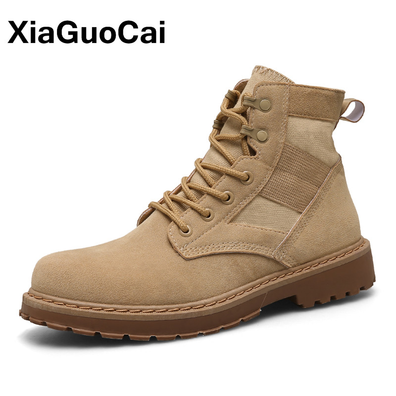 XiaGuoCai High Quality Men Military Tactical Boots Autumn Comfortable Lace Up Desert Ankle Martin Boot Army Male Footwear