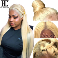 HC Glueless 613 Lace Front Wig 150% Blonde Human Hair Wigs Pre Plucked Peruvian Straight Lace Wigs With Baby Hair For Women Remy