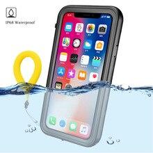 360 Apple iPhone için Korumak XS Max Durumda Su Geçirmez Temizle Arka Ön Kapak için iPhonex Coque iPhone Xr Xs X Su Geçirmez kıl...