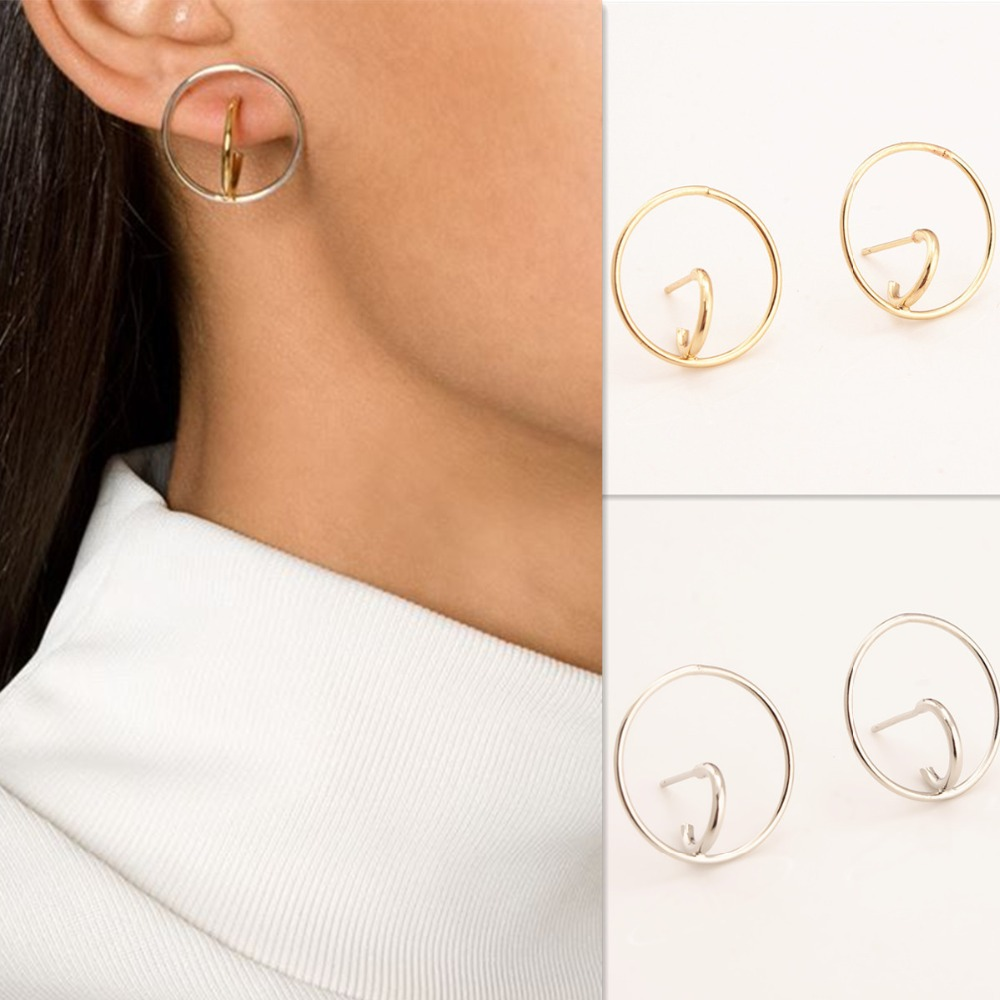 Gold Silver Plated Small Hoop Earrings For Women Brinco Feminino Orecchini  A Cerchio Bijoux Long Circle