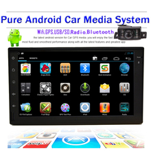 Android Car Headunit GPS Navigation 2Din in dash Car Stereo Radio Universal Car Video Player Support Wifi+Free camera+AM/FM