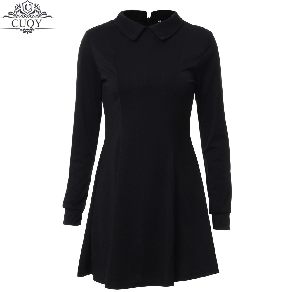 Black dress with white peter pan collar - Aliexpress Com Buy Cuqy 2017 New Arrival Solid Cute Mini Ladies Dress Peter Pan Collar School Preppy Style Dresses Zipper Long Sleeve Mini Dresses From