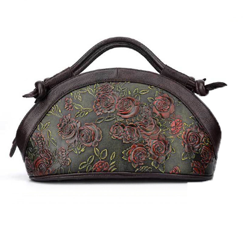 New Vintage Genuine Embossed Leather Handbag Rose Pattern Tote Bag Women Oil Wax Cowhide Shoulder Crossbody