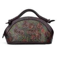 New Vintage Genuine Embossed Leather Handbag Rose Pattern Tote Bag Women Oil Wax Cowhide Shoulder Crossbody Messenger Bags