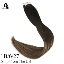 Ship From US Full Shine Tape In Extensions Human Hair 100% Real Remy Skin Weft on Balayage Colorful ins