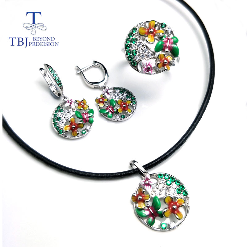 TBJ,2018 new enamel jewelry set pendant earring ring 925 sterling silver fine jewelry with leather chord necklace for women gift rainmarch 925 sterling silver pendant for women necklace blue enamel flower necklace pendant with cz enamel jewelry accessories