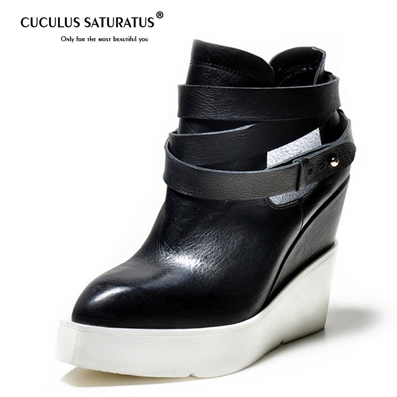 цена на Cuculus Genuine leather wedges boots for women pointed toe platform ankle boots buckle autumn high heels shoes boots 1539