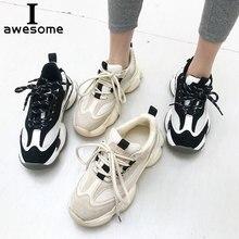 Купить с кэшбэком Genuine Leather Mesh Dad Sneakers platform shoes women Chunky Sneakers comfortable Breathable Flats Thick Sole Walking shoe