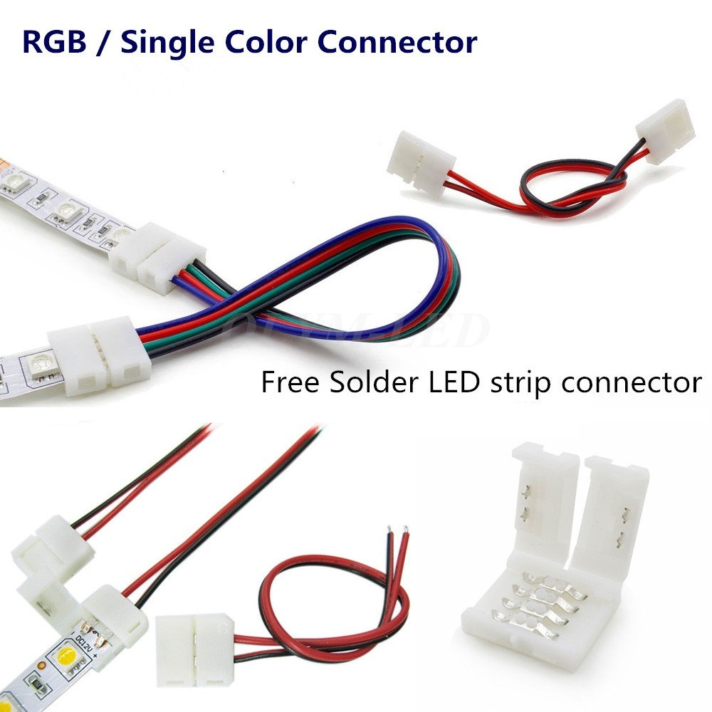 10X LED Strip Connector 8mm 10mm 2 Pin 4 Pin 3528 2835 5050 Wire RGB Single Color solderless LED PCB board wire connectors 5pcs 2 pin 4 pin led strip connector for smd 8mm 10mm 3528 5050 rgb single color ip65 54 waterproof led tape light to wire joint