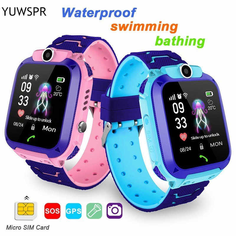"Children Smart Watch GPS tracker Watches kids Sport Watch Smart Phone IP67 waterproof Swimming SOS call camera 1.44"" LCD Q12 D"