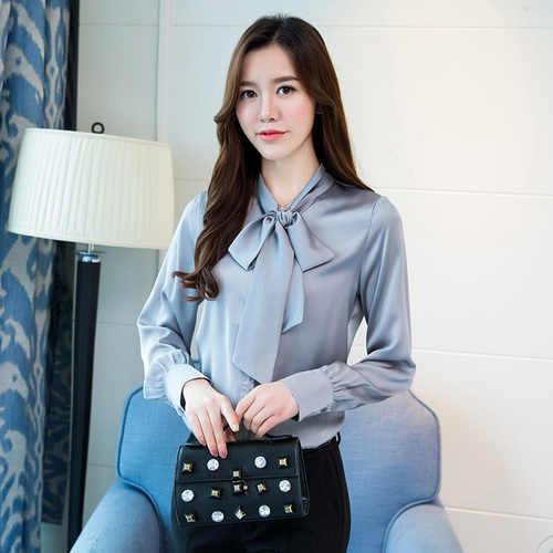 a383805a8f3 ... Stinlicher элегантная женская рубашка с галстуком-бабочкой Женская  винтажная зеленая розовая черная белая блузка рубашка ...