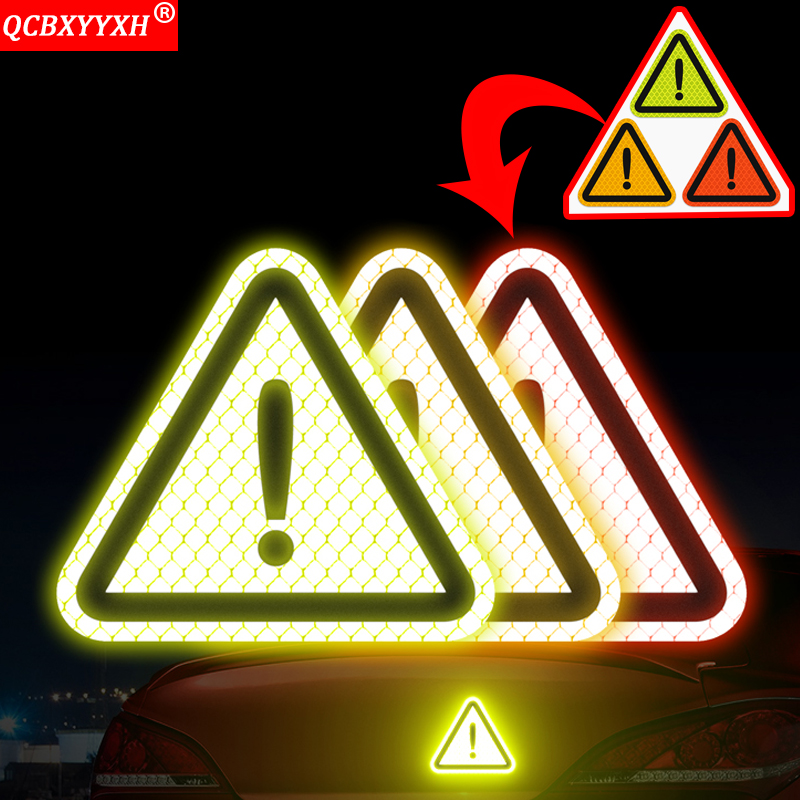 QCBXYYXH Car Triangle Safety Warning Sticker Light Reflector Protective Sticker Reflective Car-styling Decorate Auto Accessories