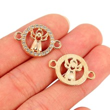 TJP 10pcs Antique Gold Tone Hollow Open Angel Round Connectors Charms Pendants Two Holes for DIY Jewelry Making Findings 23x16mm