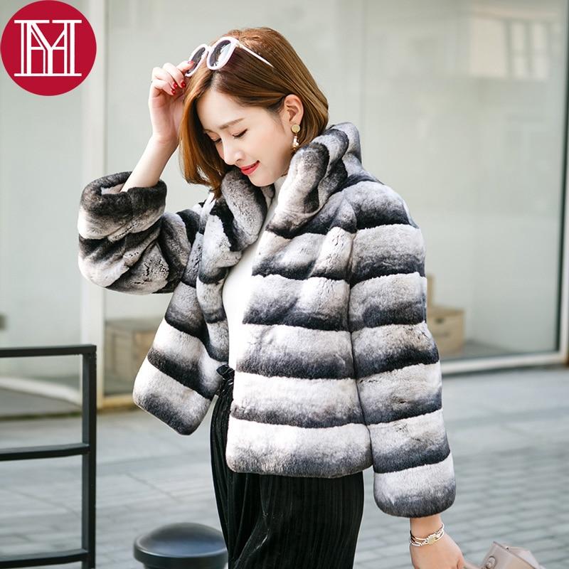 2019 Hot Sale Women Real Natural Rex Rabbit Fur Coat High Quality 100% Genuine Rex Rabbit Fur Chinchilla Color Winter Jacket