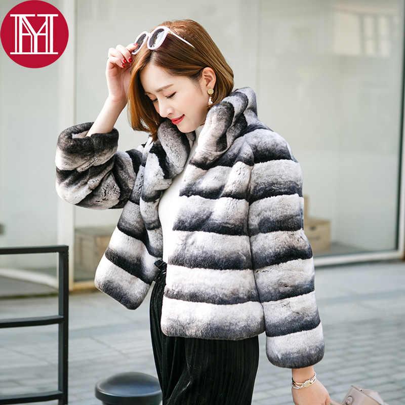 2019 sıcak satış kadınlar gerçek doğal rex tavşan kürk ceket yüksek kalite 100% hakiki rex tavşan kürkü chinchilla renk kış ceket