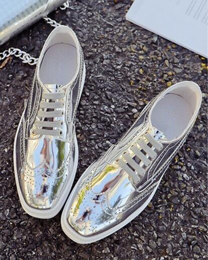As Mode En Bout Printemps 2018 Pic Pic Verni Casual De Chaussures Carré as Design Fond Nouveau Épais forme Britannique Femmes Cuir Style up Plate Dentelle automne nqwYtBxwT