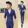 2015 new arrival wedding dress suits summer Slim shorts sleeve suit, men casual plaid suits, three-piece terno masculino