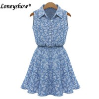 Loneyshow 2017 Elegant Floral Print Summer Dress Women Ethnic A Line Robe Denim Vestidos Fashion Vintage