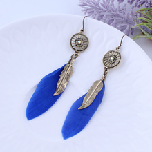 2 Colors Boho Ethnic India Style Jewelry Antique Gold Long Feather Dangle Tassel Earring Mix Color Gift For Women Girl Wholesale