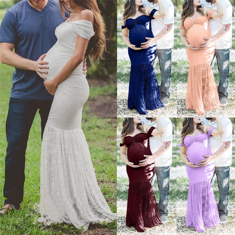Womens Dress Pregnants Sexy Photography Props Off Shoulders Lace Nursing Short Sleeve Long Dress Maxi Dress Vestidos femininos long sleeve waisted maxi dress