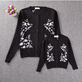 New 2016 Spring Mother and Daughter Clothes Black Coats Embroidered White Daisy High quality Matching Mother Daughter Clothes