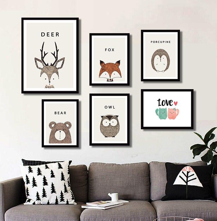 buy cute animals bear deer cartoon poster printing kindergarten art decorative. Black Bedroom Furniture Sets. Home Design Ideas