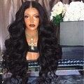 Топ 7А Малайзии Девы Волос Glueless Полный Шнурок Человеческих Волос парики Толщиной Плотность Объемная Волна Парик Фронта Шнурка Для Черного женщины