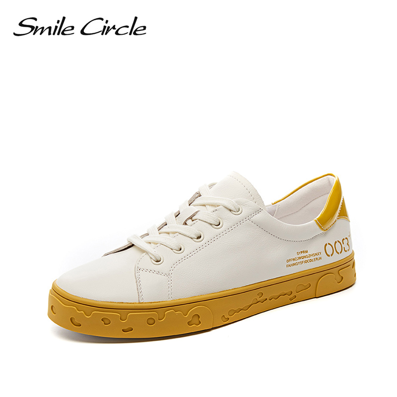 Smile Circle White Flat Sneakers Women 2019 Spring Lace-up Genuine Leather Casual shoes fashion Soft bottom Ladies SneakersSmile Circle White Flat Sneakers Women 2019 Spring Lace-up Genuine Leather Casual shoes fashion Soft bottom Ladies Sneakers