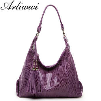 Arliwwi Brand Real Soft Suede Cow Leather Lady Crossbody Tassel Handbags shiny Snake Embossed shoulder Tote Bags For Women GY11 - Category 🛒 All Category