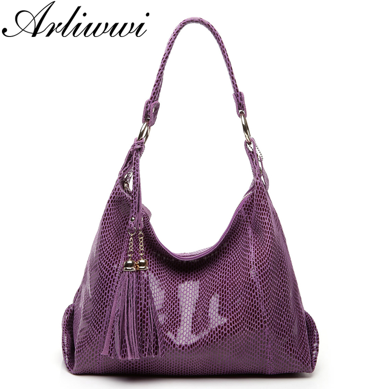 Arliwwi Brand Real Soft Suede Cow Leather Lady Crossbody Tassel Handbags Shiny Snake Grain Embossed Shoulder Tote Bags For Women