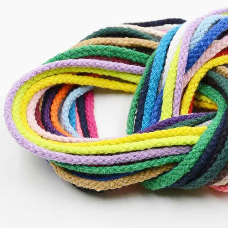 5mm Dikke Gekleurde Decoratieve Twisted Cord Touw Puur Wit Rood Roze groen Zwart Knit Cord Corde Coton Decor Touw 5 Meters Lengte