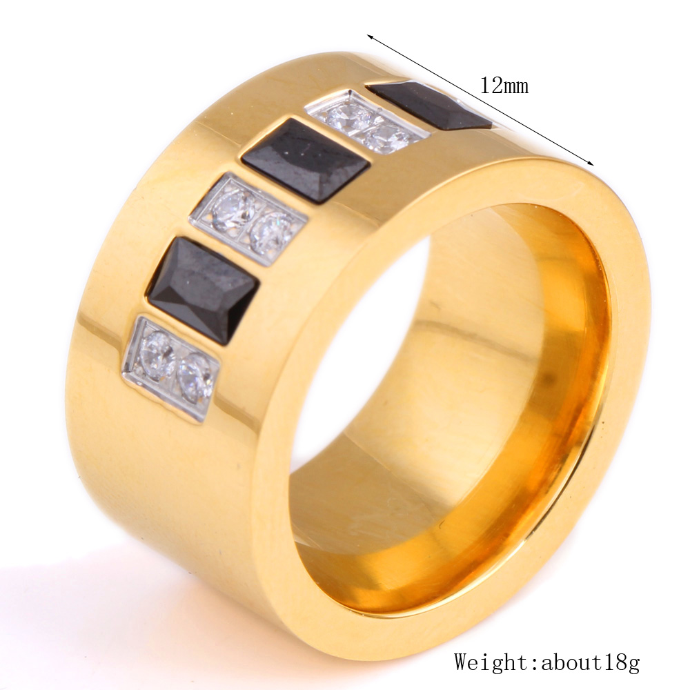 Fashion Gold Color 316L Stainless Steel Wedding Ring With Black and - Fashion Jewelry - Photo 3