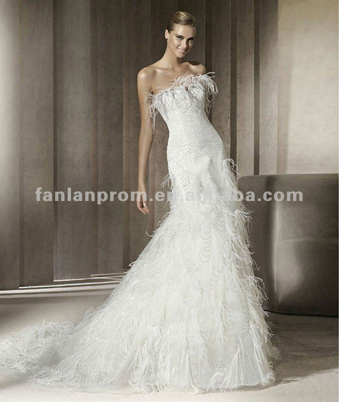 Wedding Gown With Feathers: 2013 Latest Style Elegant Sweetheart Mermaid Charming