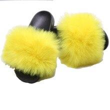 2019 Womens Furry Slippers Ladies Cute Plush Fox Hair Fluffy Fur Mens for Women Hot 43