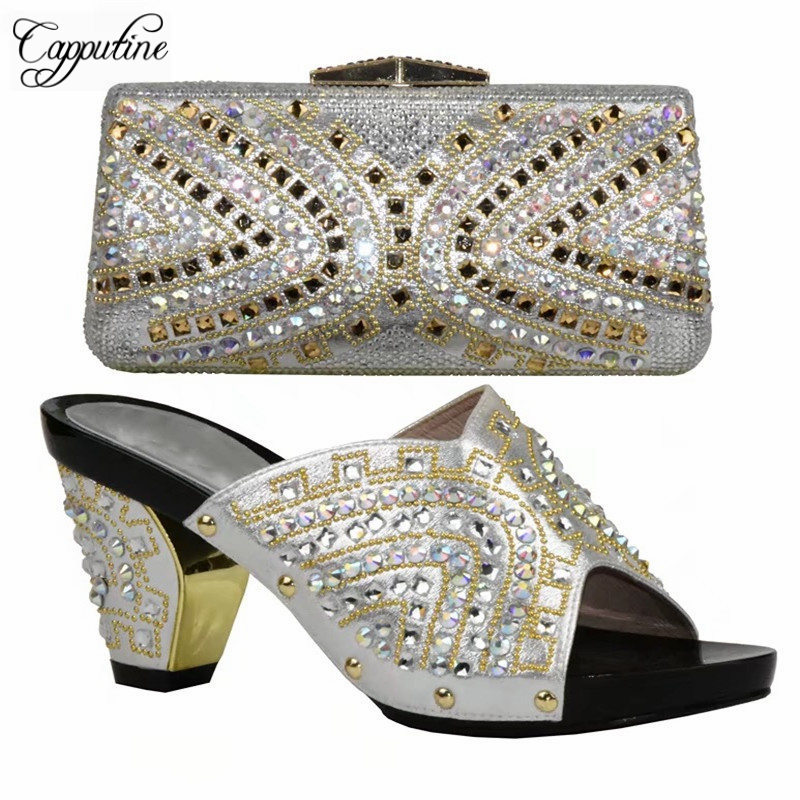 Cappufine Hot Selling Italian Women Shoe And Bag Set Fashion African Pumps Slipper Shoes And Bag Set For Wedding Dress DF-17 red african wedding shoe and bag sets women shoe and bag to match for parties elegant italian women shoe and bag set