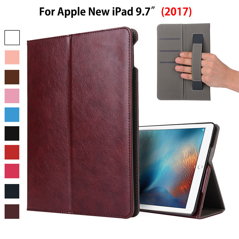 Luxury PU Leather Case For Apple New iPad 9.7 2017 Case Smart Cover Funda Tablet A1822 Wake up Sleep Hand Holder Stand Shell ctrinews for new ipad 2017 tablet case smart pu leather stand cover for ipad 2017 a1822 magnetic auto wake up sleep case