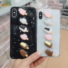 Tfshining Lovely 3D Ice Cream Phone Summer Case For iPhone X XS XR Max  6 6S 7 8 Plus Glitter Powder Soft TPU Back Cover