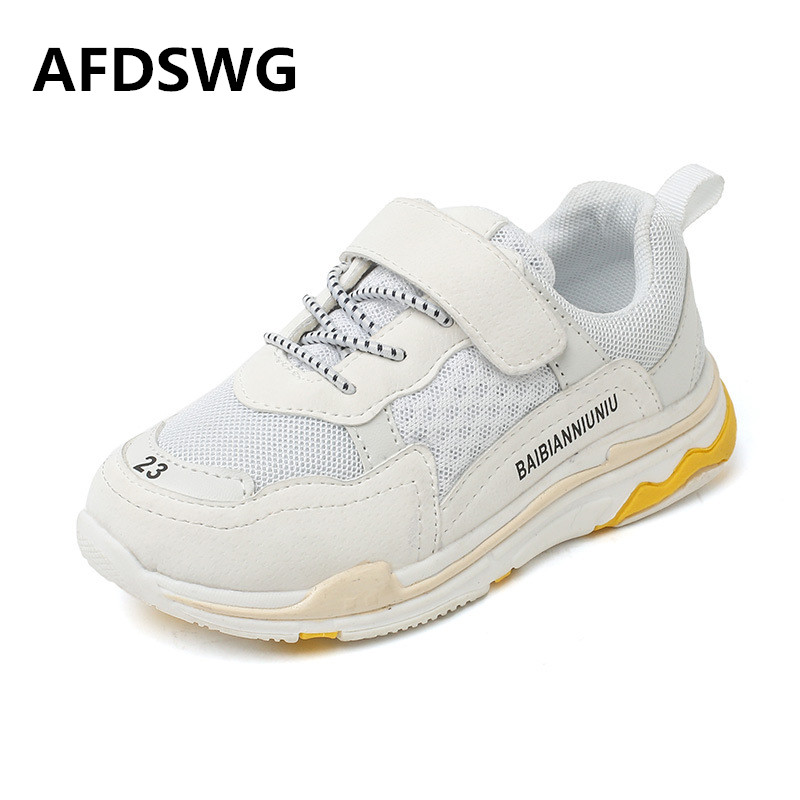 AFDSWG PU breathable white soft kids shoes boys sports black childrens running shoes blu ...