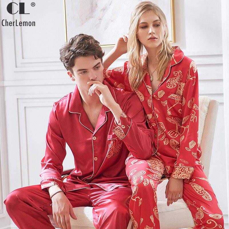 CherLemon Couple Wedding Pajamas Premium Satin Silky Pyjama Set Womens Printed Nighty Sleepwear Mens Autumn Long Sleeve Pijamas