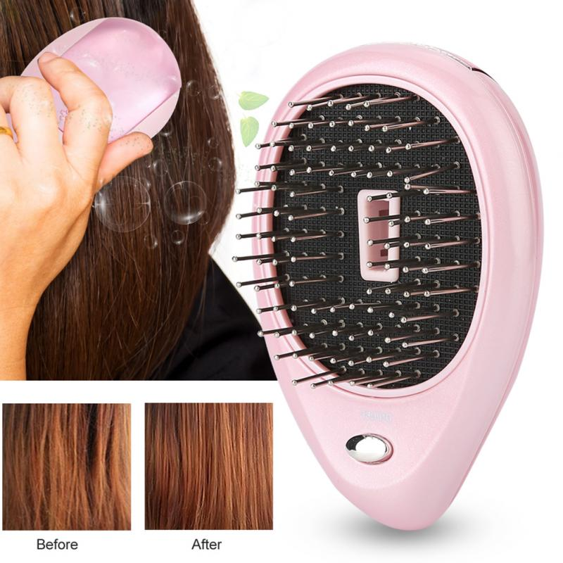 Portable Electric Ionic Scalp Massaging Caring Brush Vibration Massage Comb Hairbrush Comb Brush Hair Styling Brush Tools green sandalwood combed wooden head neck mammary gland meridian lymphatic massage comb wide teeth comb