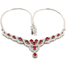 """Classic Long Big Red Blood Ruby CZ Ladies Wedding Silver Necklaces 18.0-18.5in"""" 56x44mm"""