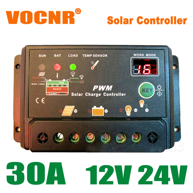 30A 12V 24V Auto Solar Battery Charge Controller with timer, 30Amps lamp regulator for LED street lighting or solar home system